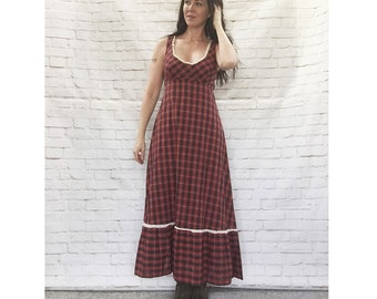 Vintage 70s Plaid Prairie Steampunk Dress S Lace Trim Apron Belt Ruffled Red Young Edwardian