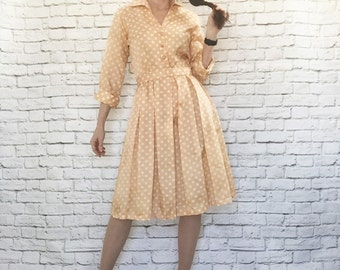 Vintage 50s Peach Polka Dot Pleated Dress M Belted Knee Length