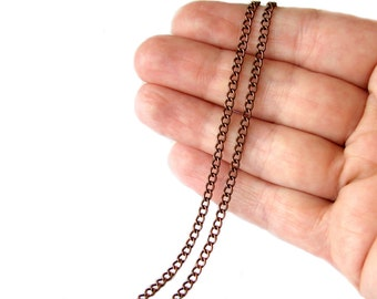 Chain : 16 feet (5 meters)  Antique Copper Twisted Oval Chain ... 2.5mm x 3.7mm x .7mm -- Lead, Nickel & Cadmium Free 43635