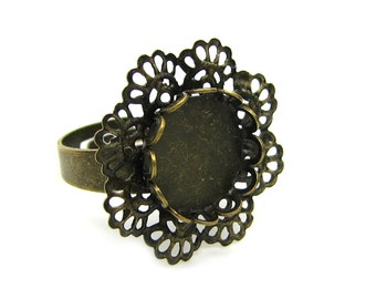Ring Blank :  1 piece Antique Bronze Adjustable Filigree Ring Component with 12mm Cabochon Setting   -- Lead, Nickel & Cadmium Free 21284-F7