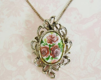 Vintage Necklace with Purple Flower Cameo Pendant or Brooch