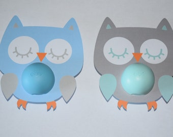 15 Owl Favor Cards with Cutout for Eos Lip Balm // Baby Shower Favor // Look Whoo's // Sleeping Owl // Birthday Favor // Chapstick