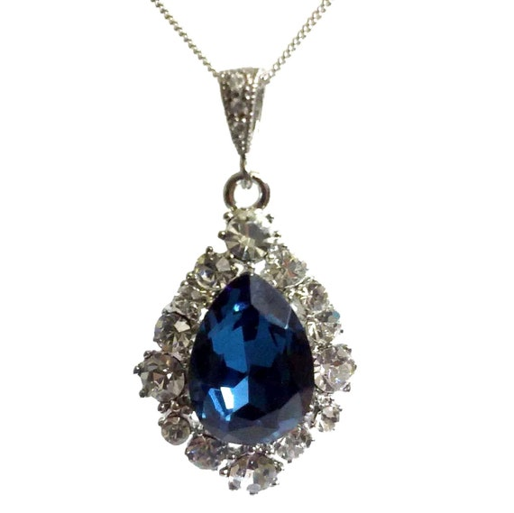 Something Blue Bridal Necklace, Teardrop Wedding Necklace, Swarovski Crystal Bridal Jewelry, Navy Blue Pendant, Bridesmaid Gift, BIJOUX