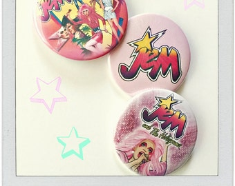 "Jem, She's Truly Outrageous - Large 2.25"" Button, OR Key Ring Bottle Opener"
