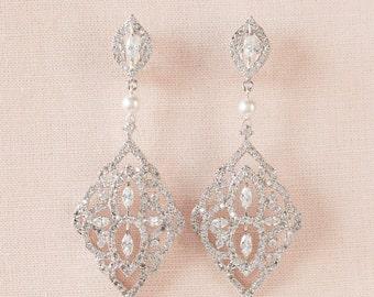 Crystal Bridal earrings, Chandelier Pearl Wedding jewelry Swarovski Pearl Wedding earrings Bridal jewelry, Mackenzie Earrings
