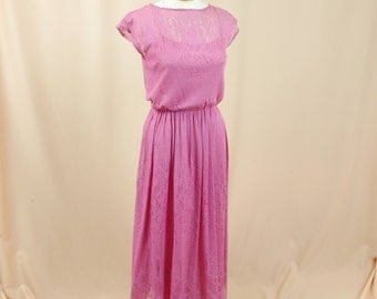 60s Boho Dress * Pink Boho Maxi Dress * Sundress * Pink Dress * Hippie Dress * Pink Lace Dress * Pink Cocktail Dress * Capped Sleeve Dress