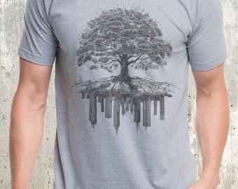 Men's Tree and Crumbling City T-Shirt - Men's Screen Printed T-Shirt - American Apparel