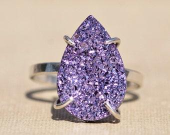 NEW Large Genuine Lavender Purple Druzy Gemstone Ring,Geode Druzy Quartz Ring,Sterling Silver Band,Womens Druzy Ring,Pear,Teardrop,Statement