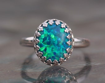 RARE Teal Blue Peacock Green Silver Opal Ring,Sterling Silver Lab Created Opal Gemstone Ring,October Birthstone,Crown Bezel Ring,Womens Ring