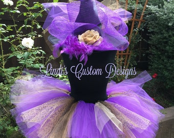 Witch Hat and Tutu Purple Cheetah for Children, Teens, Adults, Witch Tutu Costume, Halloween, Adult Witch, Over the Top Witch Hat