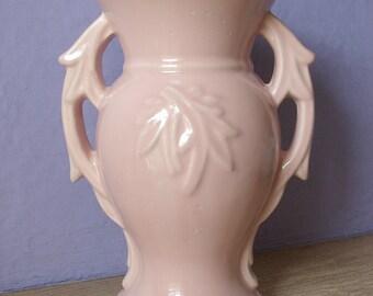 Vintage 1940's McCoy pottery vase, antique vase, art deco vase, pink ceramic vase, Pink pottery vase, Antique pottery, Double handle vase