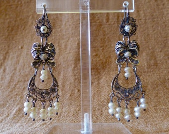 Mexican silver Filagree  pearl earrings dangle bow flower Oaxaca wedding romantic boho Frida Kahlo drop 2 3/4""