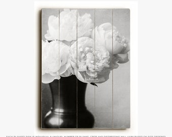 Wood Sign: Black and White Peonies in Vase Wood Plank, Elegant Decor, Ivory Flowers, Peony Photograph.