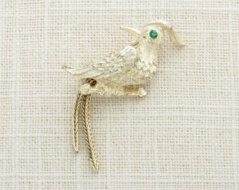 Gold Woodpecker Brooch Vintage Green Rhinestone Eye Etched Broach Costume Jewelry | Vtg Pin 16B