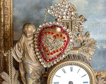 Beautiful Ex Voto Sacred Heart, Hinged, Opens to Secret Compartment, Salvaged Pieces, Metal Chain