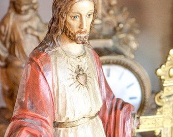Antique Carved Wood Sacred Heart Jesus, German, Beautifully Carved, Santos, Signed, Polychrome Paint