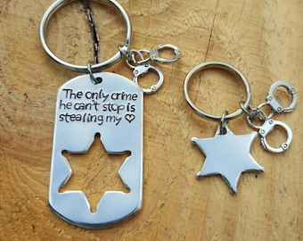 Sheriff's Keychain Set Hand Stamped Personalized Just For You