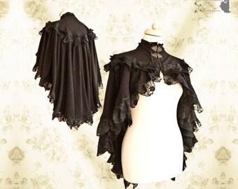 Cloak Steampunk Victorian, black lace capelet , romantic shrug, Noctua, Somnia Romantica, size small see item details for measurements