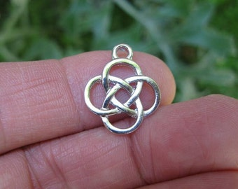 10 Celtic Knot Charms in Silver Tone - C2458