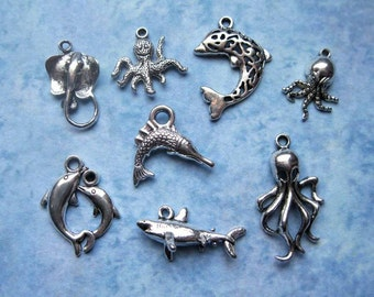Creatures of the Sea Charm Collection in Silver Tone - C2057