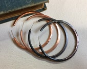 Copper Hoops - Variety of Finish options - Handcrafted - Sterling Silver Posts