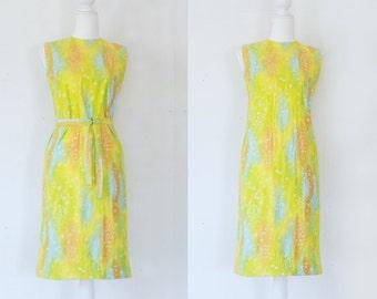 1960s Yellow Watercolor Shift Dress 60s Vintage Mod Cotton Multicolor Small Medium Sundress Abstract Art Sheath Summer Boho Festival Dress