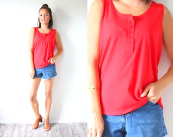 Vintage red button tank top // nautical tank top // retro tank top // simple tank top // boho tank top // summer red blouse // sleeveless