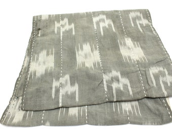 Japanese Antique Boro Textile. Double Sided Ikat Kasuri Cotton with Sashiko (Ref: 129)