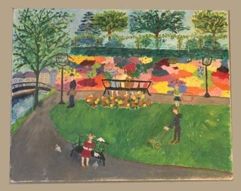 Original Oil Painting Naive Outsider Art Mid Century 1950s 50s 1960s 60s London Park M Field Vintage