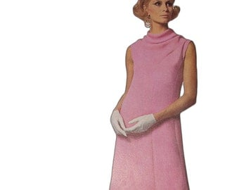 1966 A-Line Cowl Neck Maternity Dress: Uncut Simplicity Designer Fashion Sewing Pattern 6908 - One Piece - Size 16 Bust 36