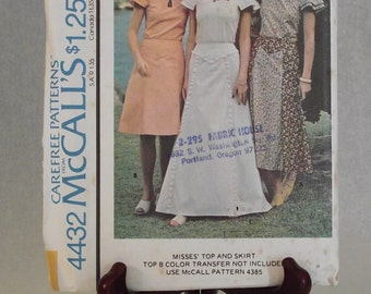1975 Top and Long Yoked Skirt: Factory Folded McCall's Carefree Pattern 4432 - Size 16 Bust 38 - Maxi Skirt has Ruffles