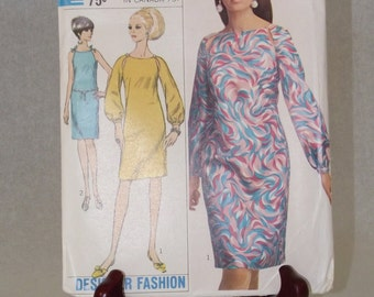 1967 Designer Fashion One Piece Dress with Peek-a-Boo Shoulder Cut Outs: Factory Folded Simplicity Pattern 7076 - Size 16, Bust 36