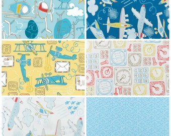 Take Flight Half Yard Bundle, Camelot Fabrics, Airplanes Helicopters Boys Navy Blue Yellow