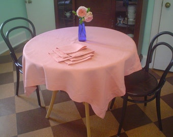 Pink Linen Tablecloth with Napkins Vintage Hemstitched Table Linens Set Square Tablecloth