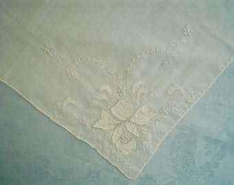 Vintage Hankie with Orchid Flower Hand Embroidered White Batiste Handkerchief