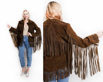 Vintage 60s Jacket - FRINGE Brown Suede Western Boho East West Leather Coat 50s - Large