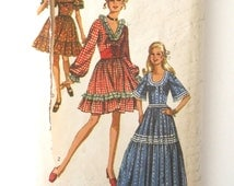 1970s Dress Pattern Simplicity 8875 Womens Western Square Dance Dress Costume Sewing Pattern Waist Cincher Ruffles Size 18 Bust 40 UNCUT