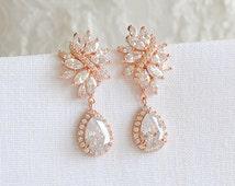 Rose Gold Wedding Earrings, Crystal Flower Brial Earrings, Bridal Earrings, CZ Teardrop Dangle Studs, Old Hollywood Wedding Jewelry, LORETTA