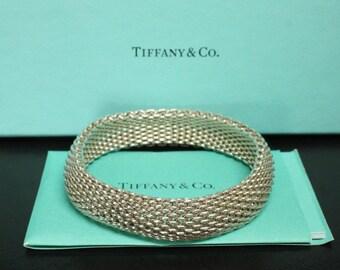 "Tiffany & Co Somerset Mesh Bracelet Sterling Silver Size 7.5"" Circumference"