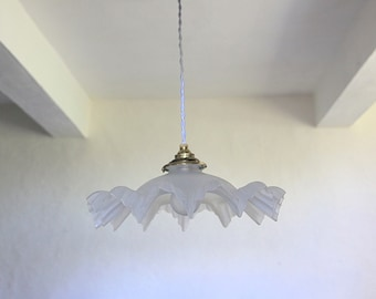 French Antique Opaque Glass Ceiling Light