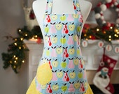 Flirty Apron - Apples and Pears with Yellow Polka Dots