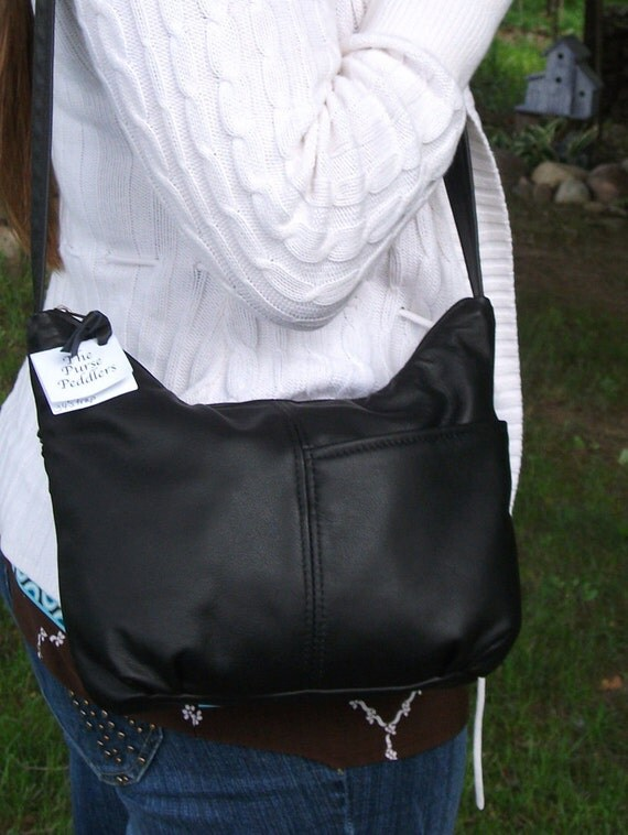 Black Leather Purse- medium size leather purse for women-leather shoulder bag-black handbag-made in USA-Brenda Style other colors available