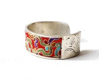 Vintage Silver Bracelet Silk Embroidered Thai Cuff