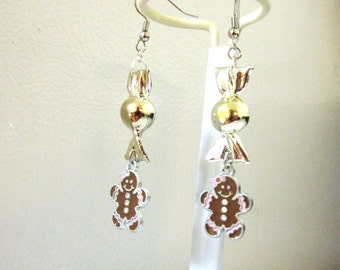 Gingerbread Man Earrings Holiday Silver Candy Christmas Jewelry