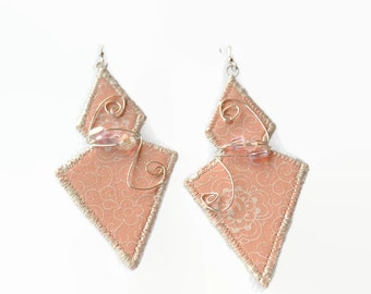 boho statement earrings, beaded boho jewellery, festival jewellery, pale pink, wire wrapped, beaded,  geometric, diamond shaped, trending