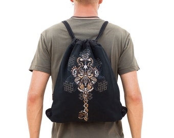 Sacred Geometry, Sack Bag, Drawstring Backpack, Festival Bag, Key Print Bag, Rucksack, Canvas Drawstring Bag