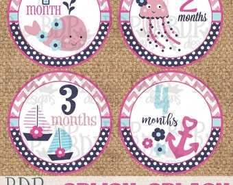 "INSTANT DOWNLOAD Splish Splash Nautical Under the Sea Onesize Month Stickers - 4"" diameter"