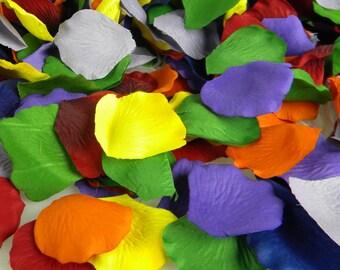 Rainbow Party Decoration | 250 Rose Petals Artificial Petals  Rainbow Birthday Party Wedding  Flower Petals  Table Scatter - Art Supply