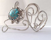 Sterling Silver Cuff Bracelet, Natural Turquoise, Sun Design, Filagree Artist Designed and Hand Made, Gift for Her, Hand Forged Silver Cuff