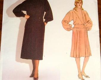 Vogue 1088 Kasper Peplum Top Pleated Skirt Womens Misses Vintage 1980s American Designer Sewing Pattern Size 10 Bust 32 Uncut Factory Folds
